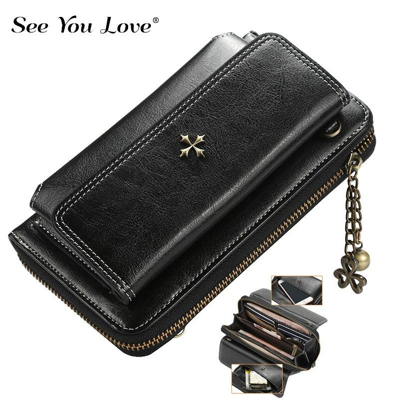 2018 New Vintage Long Hasp Leather Wallet Woman Purse Zipper Button Single Strap Leather Bag Clutch Female Wallets Women Purses