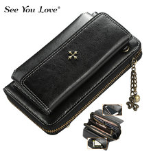 2018 New Vintage Long Hasp Leather Wallet Woman Purse Zipper Button Single Strap Leather Bag Clutch Female Wallets Women Purses