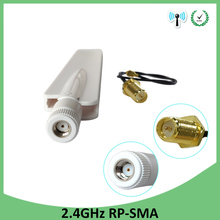 лучшая цена 5pcs 2.4Ghz antenna Wifi 8dbi RP-SMA connector white 2.4G antena Router Antenna 2.4 ghz + 21cm RP-SMA Male Pigtail Cable