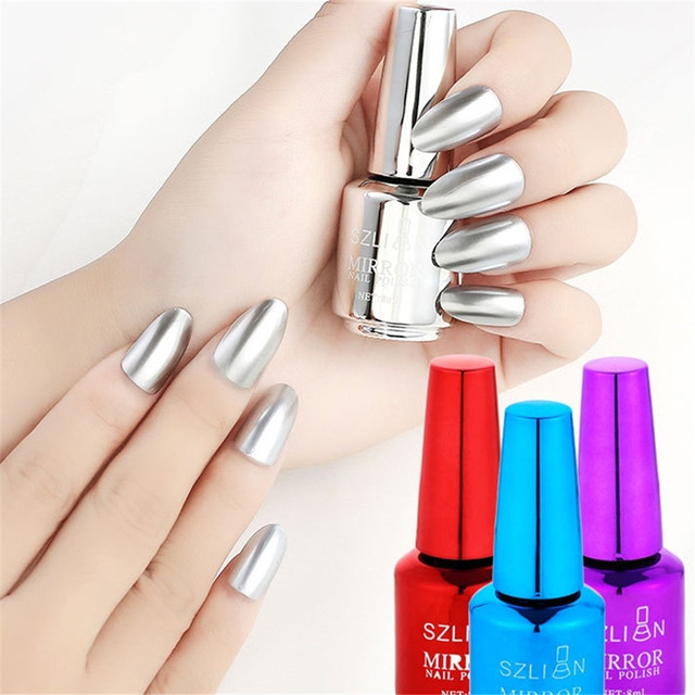 8ml Mirror Nail Polish Metallic Lacquer Silver Nail Effect Metal Gold Nail Gel Polish Base Top Coat Nails Art Manicure 15 Colors 4