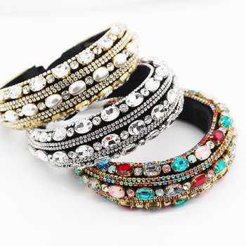 New Luxury Crystal Pearl Padded Baroque Headband Colorful Rhinestone Handmade Hair Band Headwear Women Party Accessories