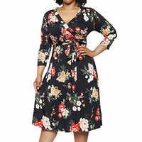 Vestido de moda vestidos de Halloween 5XL vestido de invierno vestido de mujer ropa Casual talla grande flor cuello en V vestido de manga larga Z4