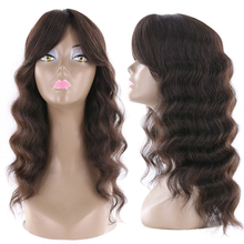 Wigs Bangs Human-Hair Loose Side-Part Wave Natural-Color Long Brazilian IJOY with 20inch