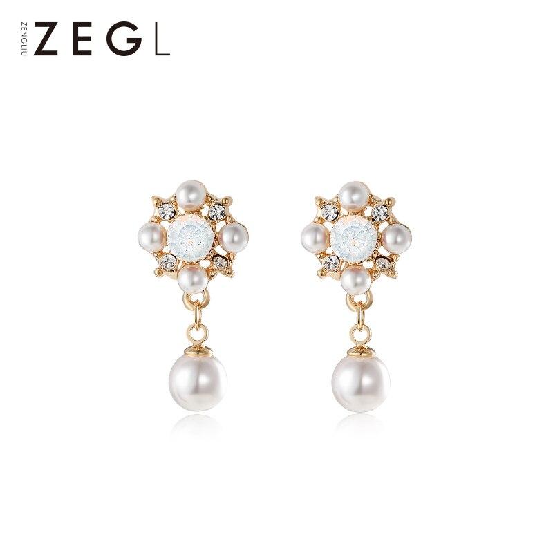 ZEGL retro baroque earrings female imitation pearl temperament short paragraph wild personality ear jewelry