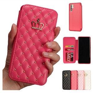 Кожаный бумажник для iPhone 5 6 6s 7 8 Plus X XR XS Max блестящий чехол Корона Королева Стиль Чехлы флип-чехол для телефонов пакет