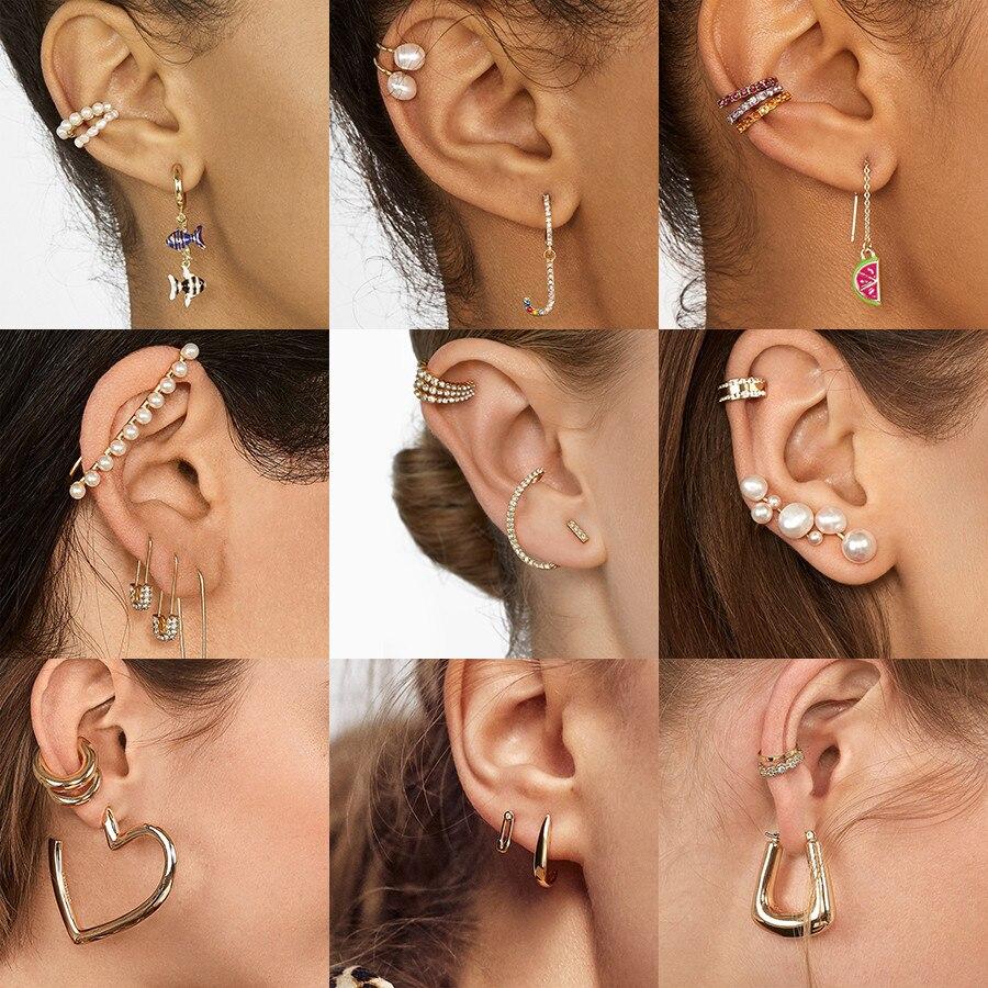 2020 New Pearls Ear Cuffs Non Pierced Cuff Earrings Set For Women Fashion Minimalist Boho Cartilage Small Ear Clip Charm Jewelry Clip Earrings Aliexpress