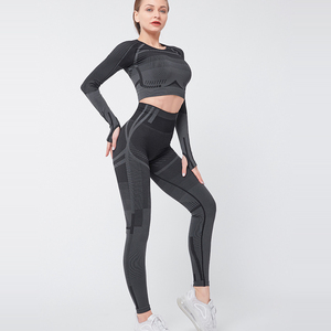 Image 5 - 2PCS Nahtlose Yoga Set Frauen Fitness Kleidung Workout Hose Sportswear Langarm Crop Top Shirts Gym Leggings Sport Anzüge