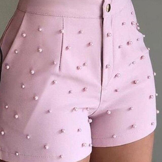 Summer High Waist Shorts For Women Beading Ruffle Casual Shorts Pantalones Cortos De Mujer 6