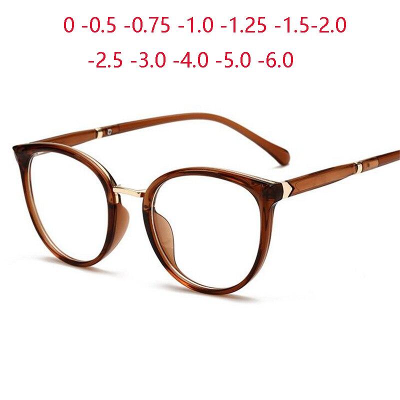 Frühling Bein Anti-blau Licht Oval Rezept Brillen Frauen TR90 Katze Augen Kurze-anblick Brillen Dioptrien 0-0,5-0,75-1,0 zu-6,0