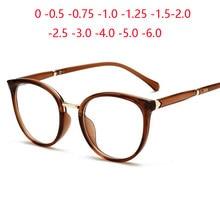 Pierna de Primavera Anti-Luz Azul Oval anteojos recetados mujeres TR90 Ojo de gato-gafas de vista dioptrías 0-0,5-0,75-1,0-6,0