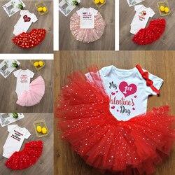 Conjunto de roupa de tutu do bebê, primeiro dia dos namorados, macacão adorável + tutu de tule fofo, dia dos namorados saia roupa de festa da família