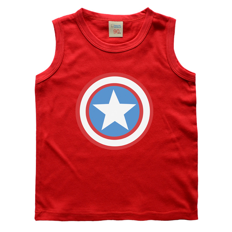 Kids Baby Boys Vests T-shirts Cartoon Captain America For Children Girls Super Hero Printing Cotton Sleeveless Tops Summer New