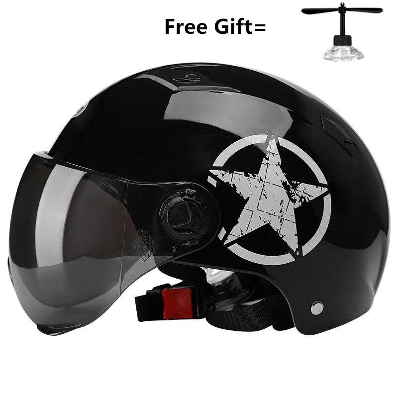 2019 NEUE Motorrad Helm Elektroauto Helm Sicherheit Liefert Sonnencreme Objektiv Helm Unisex Sommer Helm glanz schwarz