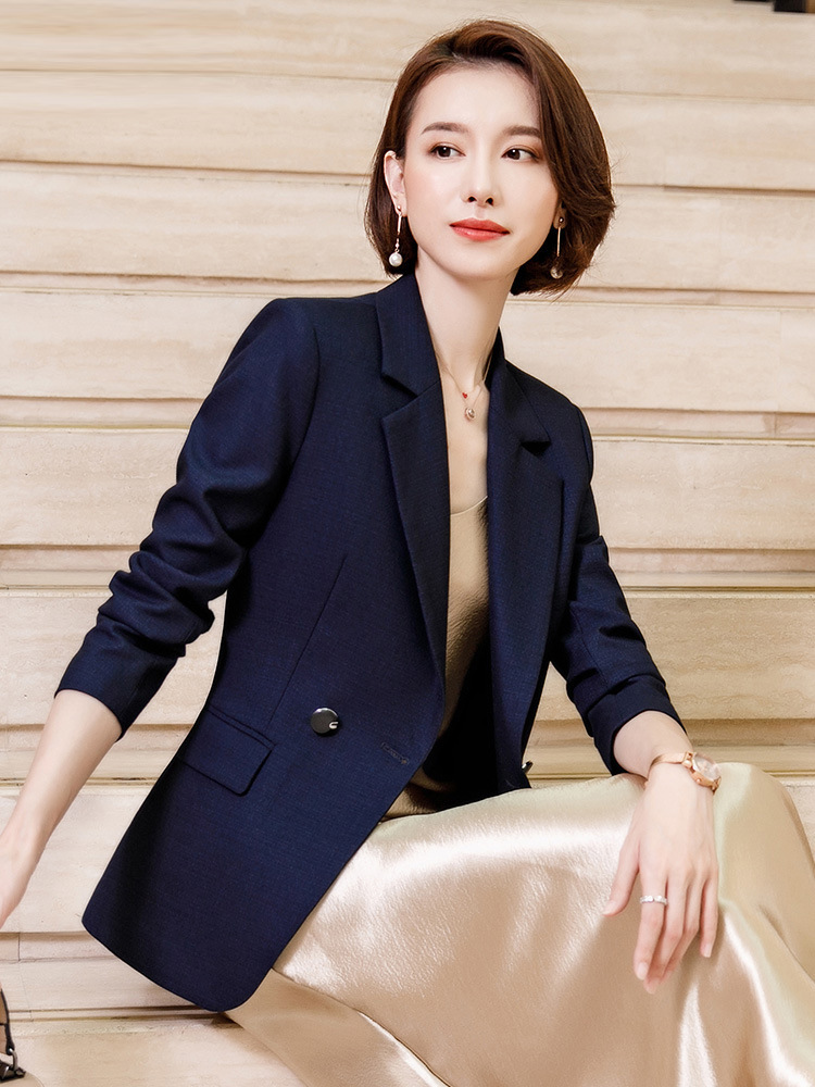 Women's Jacket 2019 Autumn New Casual Fashion Temperament Slim Slimming Solid Color Double-breasted Small Suit Women's Shirt