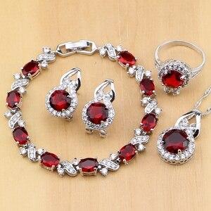 Image 1 - Doğal 925 gümüş takı kırmızı zirkon beyaz CZ tılsım küpe kolye kolye yüzük bilezik takı setleri kadınlar için