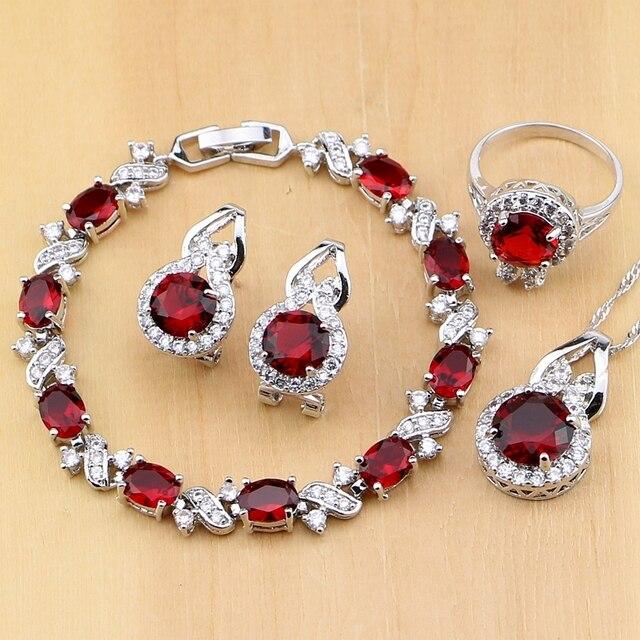 Doğal 925 gümüş takı kırmızı zirkon beyaz CZ tılsım küpe kolye kolye yüzük bilezik takı setleri kadınlar için