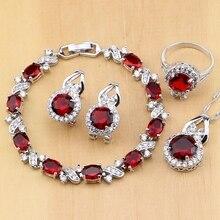 Natuurlijke 925 Zilveren Sieraden Rode Zirkoon Wit Cz Charm Oorbellen Hanger Ketting Ring Armbanden Sieraden Sets Voor Vrouwen