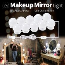 LED Makeup Mirror Light Bulbs USB Hollywood Make up Lamp Vanity Lights Bathroom Dressing Table Lighting Dimmable LED Wall Lamp