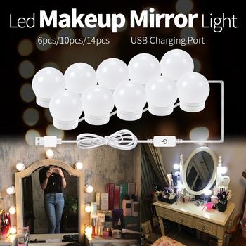LED do makijażu światło lustrzane żarówki USB Hollywood makijaż lampa Vanity Lights łazienka toaletka oświetlenie ściemniania LED kinkiet tanie i dobre opinie NoEnName_Null CN (pochodzenie) Przełącznik Led Makeup Mirror Light 12 v 2pcs 6pcs 10pcs 14pcs 8W 12W 16W 20W USB Plug