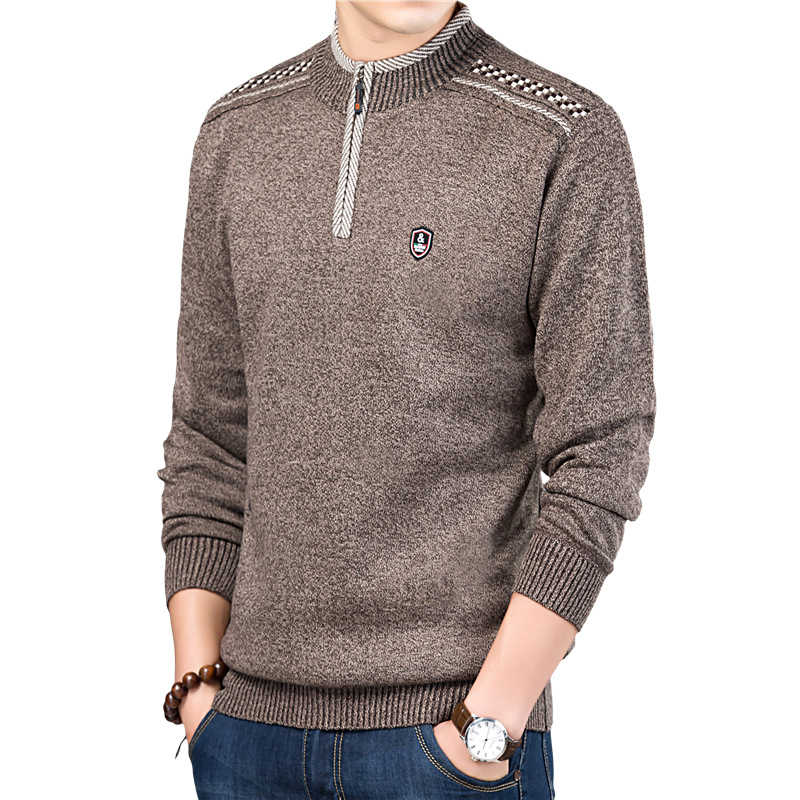 Autumn Winter Knitted Pullovers Mens Sweater Stand Collar Solid Color  Zipper Casual Slim Fit Warm pull homme Plus Size M-3XL