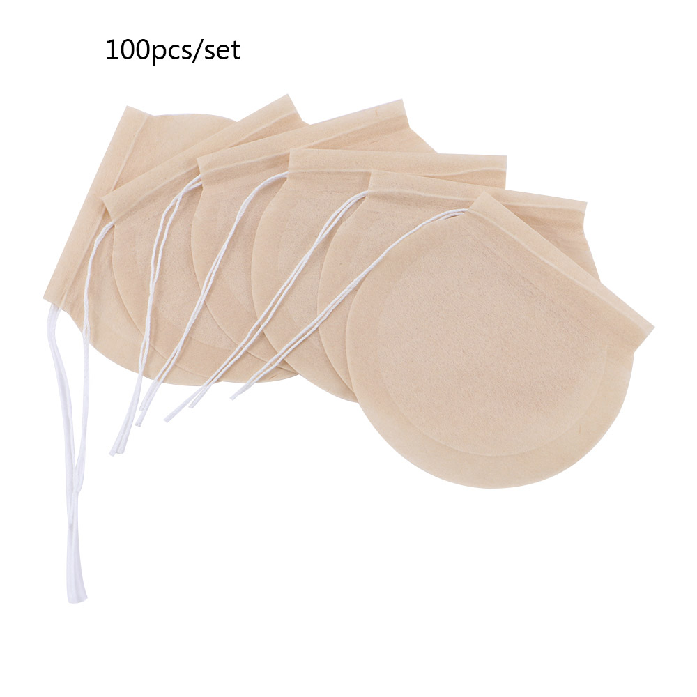 100 Pcs/Lot Round Tea Bags Empty Scented Tea Filter Bag With String Tie Heal Seal Paper Teabags For Herb Loose Tea Disposable