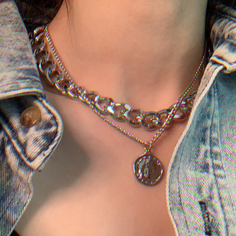 17KM Vintage Multi layer Coin Chain Choker Necklace For Women Gold Silver Color Fashion Portrait Chunky Chain Necklaces Jewelry