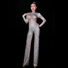 Jazz Dance Costumes Sparkly Big Legs Jumpsuits Rhinestones Sexy Bodysuit Stage Performance Show Dancewear Female Leotard(China)