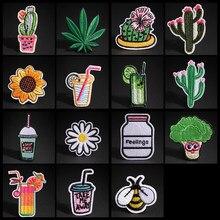 Remendos bordados cacto flor para roupas bebida abelha remendo ferro em remendos em roupas maple leaf emblema listra adesivos