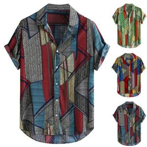 Casual Shirt Blouse Short-Sleeve Loose-Buttons Ethnic-Style Retro Mens Summer Multicolor