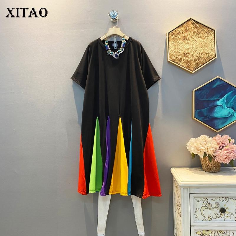 XITAO Patchwork Multicolor A Righe Casual Vestito Delle Donne 2020 di Tendenza di Estate di Nuovo Stile di Modo O Collo Manica Corta Collare GCC3473