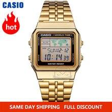 Casio часы золотые мужчины лучший бренд класса люкс led цифровые