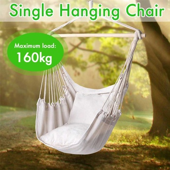 Portable Hammock Chair Hanging Rope Chair Swing Chair Seat with Pillow for Garden Indoor Outdoor Hammock Swings For Child Adult