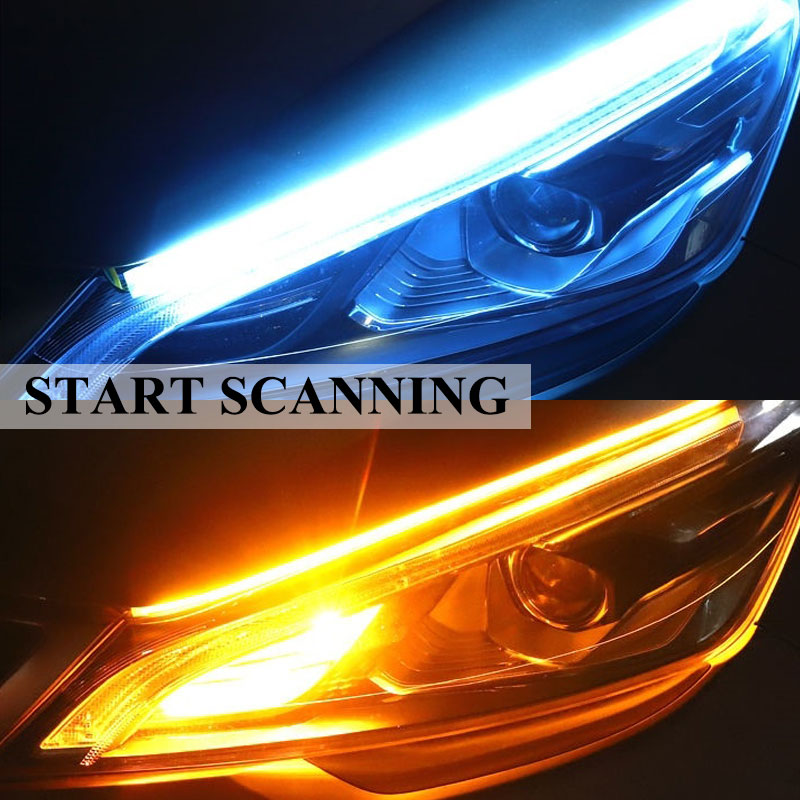 2PCS/set cars Daytime running lights Flexible Waterproof Strip Auto Headlights White Turn Signal Yellow Drl for cars
