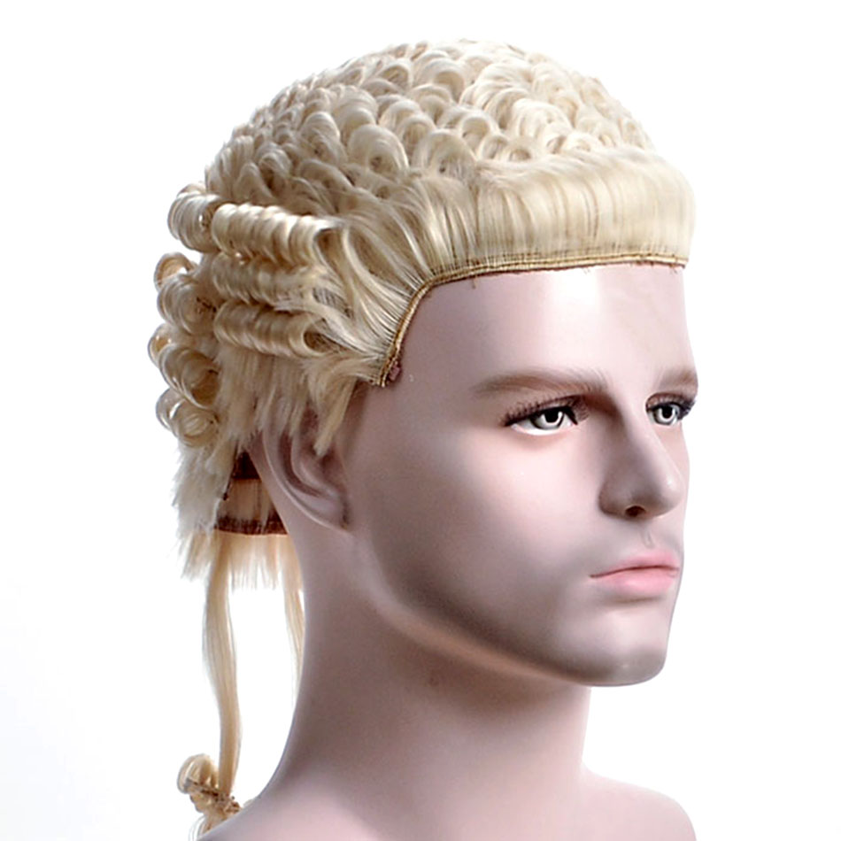 Alizing Hand Made Barrister Wig & Handmade Lawyer with Blonde color, Synthetic hair Short Wig, Horse wigs