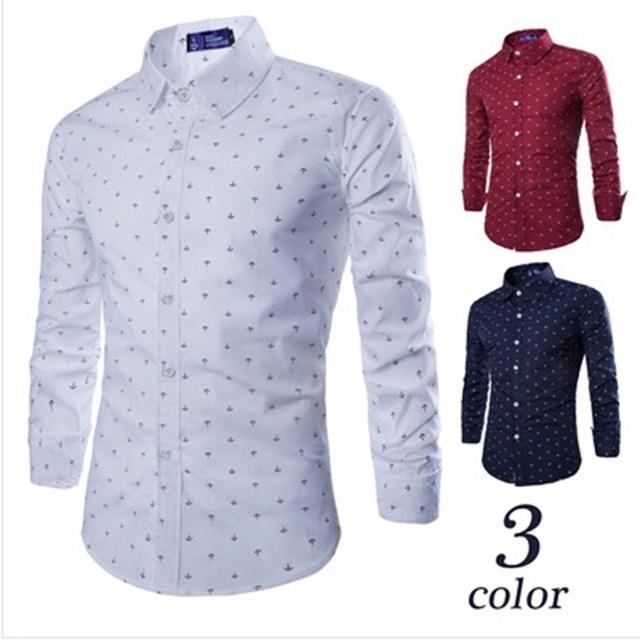 Casual Business Dress Shirt Men Long Sleeve Slim-fit