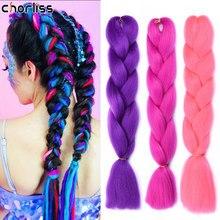 Chorliss 24 cal długie syntetyczne włosy plecione warkocz Jumbo Ombre różowy fioletowy niebieski blond warkoczyki Kanekalon przedłużanie włosów dla kobiet