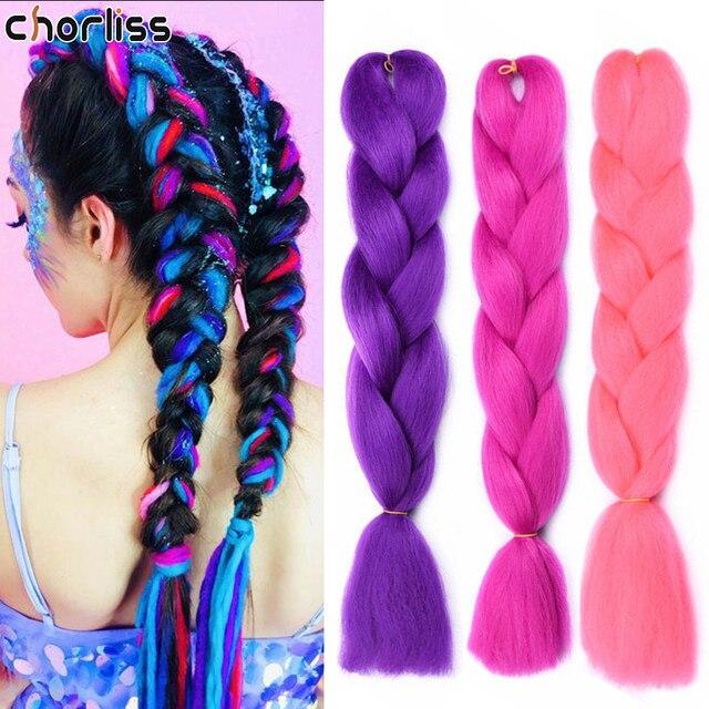Chorliss 24inch Long Synthetic Crochet Jumbo Braid Ombre Pink Purple Blue Blonde Kanekalon Braiding Hair Extension Hair For Wome