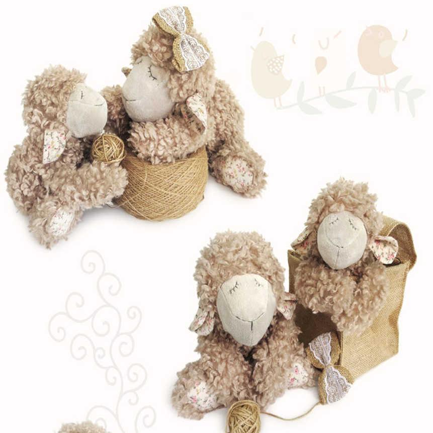 Luksusowe ręcznie robione 25cm piękne brązowe zwinięte jagnięce nadziewane owce pluszowe lalki bezpieczna jakość miękkie zabawki dla dzieci prezent