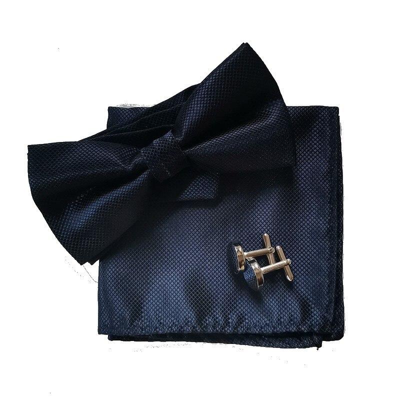 fluga set näsduk manschettlänk svart fluga klänning skjorta - Kläder tillbehör - Foto 2