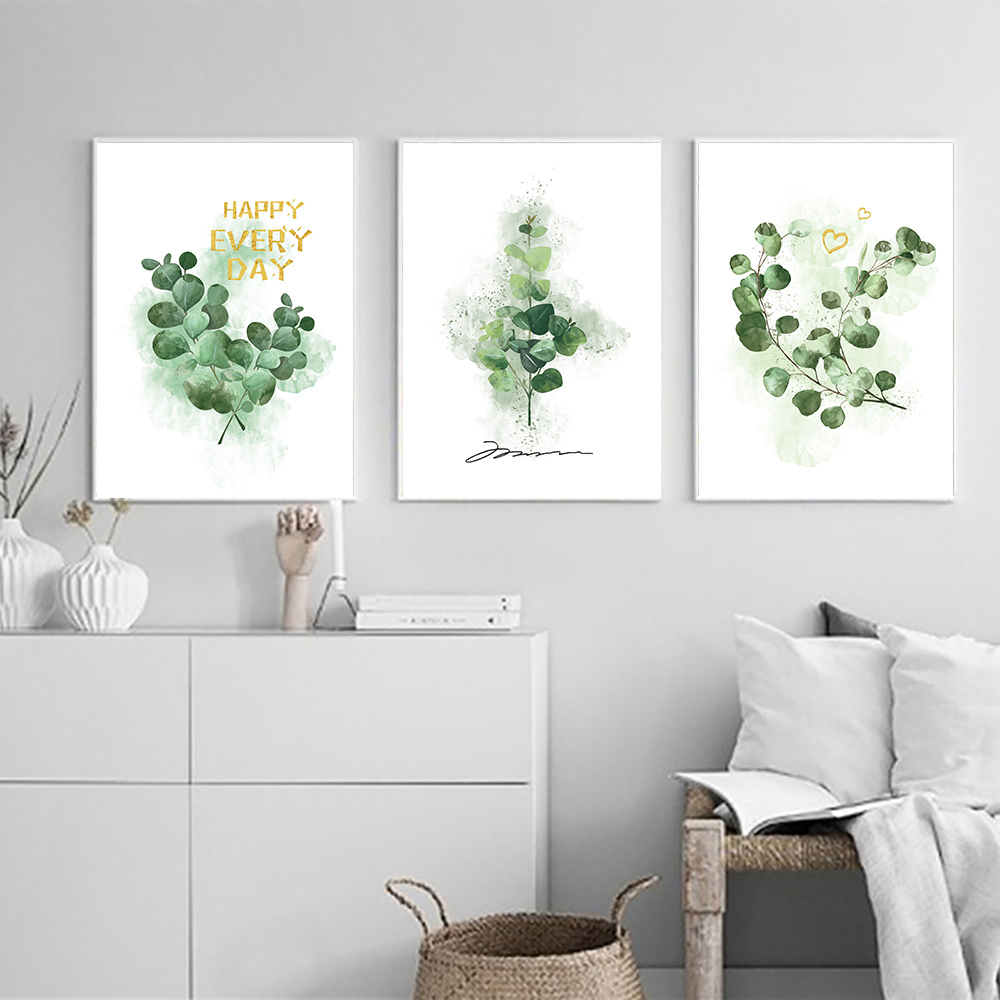 Green Plants Poster Leaves Canvas Wall Art Landscape Print Nature Painting Pictures Watercolor Prints Unframed