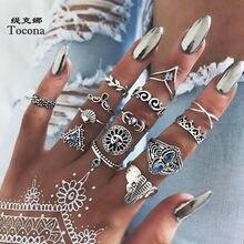 Tocona 14 adet/takım Boho antik gümüş renk yüzükler kadınlar için güneş ay fil kalp yüzük yaprak geometrik takı Bijoux кольцо