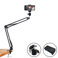 Soporte para el brazo largo de 360 grados, Compatible con soporte para tableta o teléfono móvil, Clip para fotografía, soporte para luz, reemplazo de soporte para teléfono