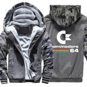 Image 2 - Commodore sudaderas con capucha C64 para hombre, chaqueta gruesa y cálida de camuflaje con capucha, ropa nueva, chaqueta con capucha, otoño e invierno, 2019