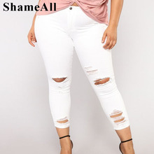 Plus Size Ripped Holes White Skinny Capris Jeans Women 4XL 5XL Fall Distressed Slim Casual Jeans Pencil Denim Pants Mom JeanJeans