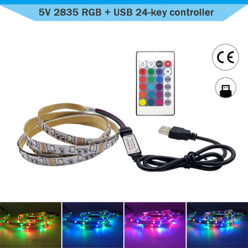 DC5V USB Controller Led Strip Light 1M 2M RGB NON-Waterproof 2835 SMD Flexible Tape Backlight With Remote 24Key Room Decoration image
