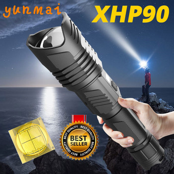 XHP90 led flashlight Powerful xhp70.2 most powerful 26650 usb torch xhp70 xhp50 lantern 18650 hunting lamp hand light