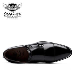 Image 3 - DESAI fait à la main hommes en cuir véritable robe de haute qualité Design italien marron bleu couleur poli à la main bout pointu chaussures de mariage