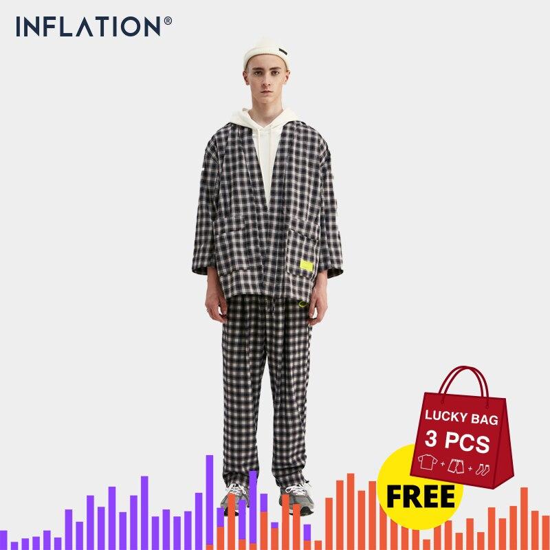 INFLATION 2019 DESIGN Loose Fit Men Blazer Suit In Black White With Check Men Suit Terno Masculino Blazers Men Streetwear Suit
