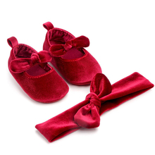 Newborn Infant Cute Baby Shoes Girl Comfort First Walkers Gold Velvet Soft Sole Princess Bowknot Crib Shoes With Hairband 0-18M cheap Emmababy COTTON Baby Girl Solid All seasons Butterfly-knot Slip-On Fits true to size take your normal size Cotton Fabric