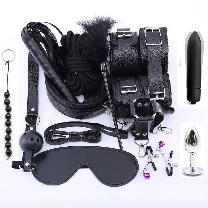13PCS Set Stimulate Bondage Restraints Leather Plush BDSM Sex Handcuffs Whip Metal Anal Plug Erotic Sex Toys For Couples Adults